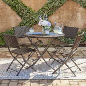 Belleze Bistro Set Folding Table & Chair Dining Rattan Wicker Outdoor Furniture Seat, Espresso, 5PC