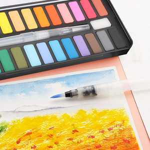 Watercolor Paint Set, EEEkit For Beginners 24 Vivid Colors Watercolor Paint Essential Set with Water Brush Pen, Perfect for Students, Kids, Beginners & More