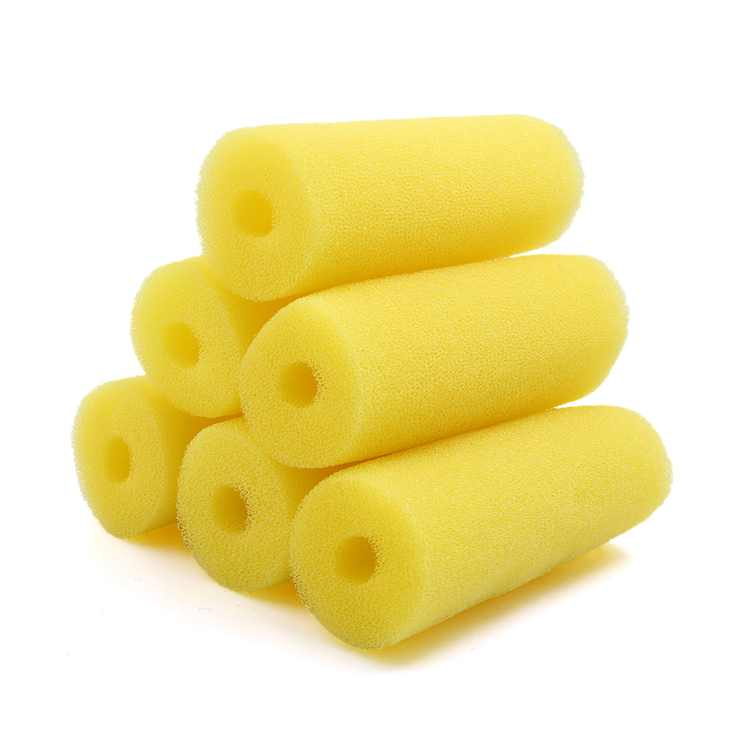 6pcs Yellow 2.6inch Dia Cylinder Aquarium Pre-Filter Sponge Filter Cartridges