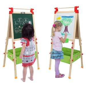 Ktaxon Kids Art Easel Adjustable Wooden White Board & Chalkboard Drewing Easel