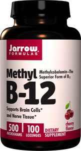 Jarrow Formulas Methyl B-12 500 mcg, Supports Brain Cells and Nerve Tissue, 100 Lozenges