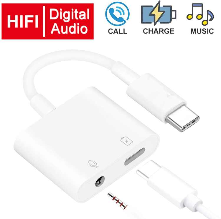 """USB C to Headphone Jack Adapter with 3.5mm Aux Audio and Type c Charger Dongle Converter USBC Earphone Adaptor for iPad Pro 12.9"""" Essential HTC U11 Google Pixel 3 3XL 2 XL Pixel 2 Headphone Adapter"""