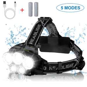 TSV 80000 Lumens Headlamp with 18650 Batteries, 5 Working Modes LED Rechargeable Headlamp Flashlight IP67 Waterproof Headlight Torch Light Lamp with USB Cable For Outdoor Caving Hiking
