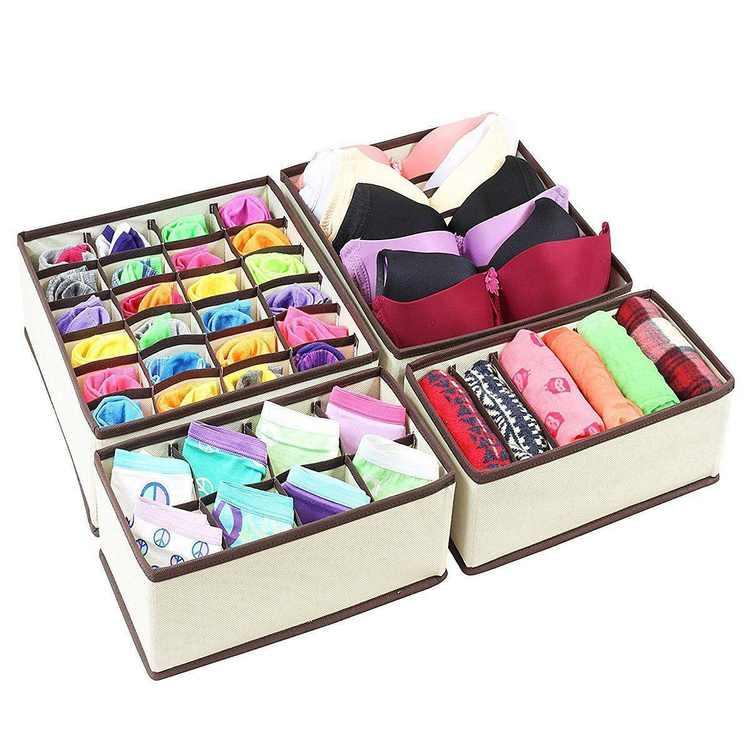 Ktaxon Underwear 4Pcs Closet Storage Box Organizer Drawer Divider Set