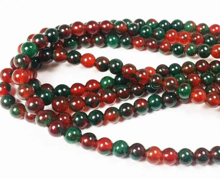 8mm Dark Green And Red Jade Smooth Round Beads Genuine Natural Gemstone Jewelry Making