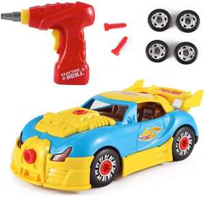 Toyvelt Take Apart Toy Racing Car Kit For Kids W Electric Toy Drill, Lights And Sounds
