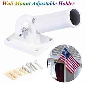 WALFRONT Flag Bracket, Wall Mounted Flag Holder,Wall Mount Adjustable Holder Bracket White Metal Flag Pole Windsock Base with Screws