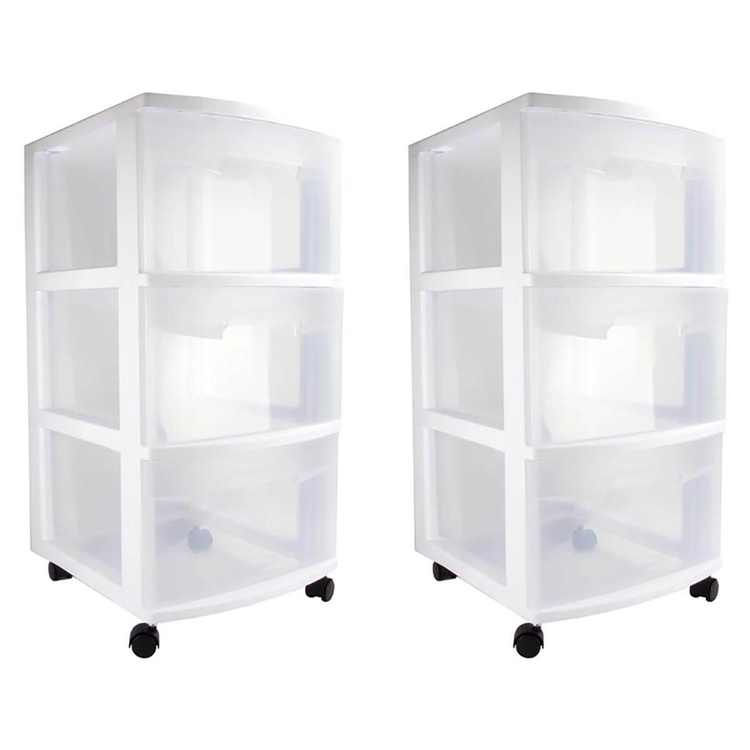 Sterilite Ultra 3 Drawer Cart Plastic Rolling Storage Container (2 Pack)