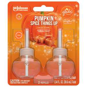 Glade PlugIns Refill 2 CT, Pumpkin Spice Things Up, 1.34 FL. OZ. Total, Scented Oil Air Freshener Infused with Essential Oils