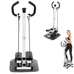 LCD Monitor Twist Stair Stepper Exercise Equipment, Air Stair Climber Stepper Fitness Machine with Handle Bar and Resistance Bands