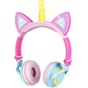Unicorn Pink Kids Headphones Headphones for Girls Foldable Cat Ear Unicorn Headphone Flashing LED Lights for PC Laptop Rechargeable Over-ear Headset Adjustable Headband Kids Earphone Wired