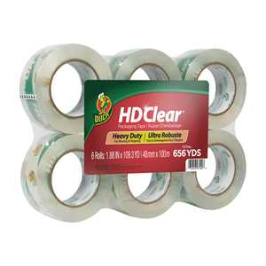 Duck HD Clear 1.88 in. x 109.3 yd. Clear Acrylic Packing Tape, 6 Pack