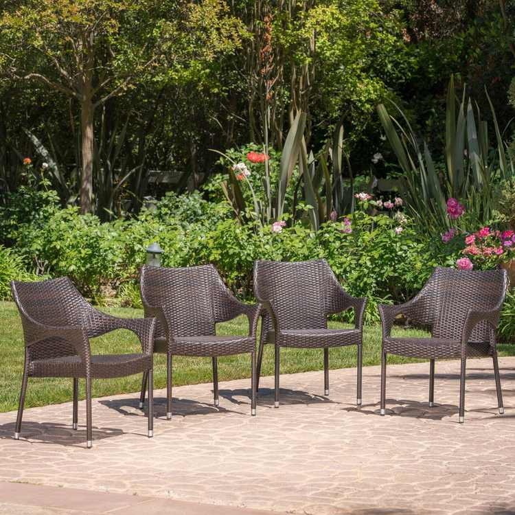 Mirage Outdoor Wicker Stacking Dining Chair - Set of 4