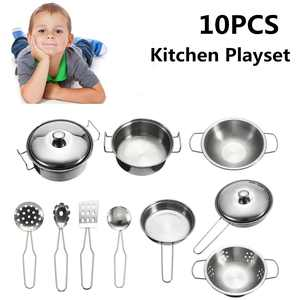 10pcs Cookware Toys Cooking Playset Kid Pots & Pans Mini Stainless Steel Cooking Utensils Development Toy for Toddlers Children