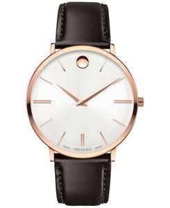 Men's Swiss Ultra Slim Brown Leather Strap Watch 40mm 0607089