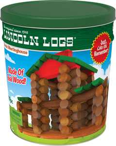 LINCOLN LOGS Classic Meetinghouse - 117 All Wood Pieces - Collectible Tin