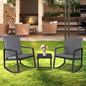 Ktaxon 3 Pcs Rocking Chairs Set Outdoor Patio Furniture with Glass Coffee Table (Black)