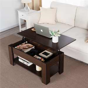 Modern Wood Lift Top Coffee Table with Hidden Compartment and Lower Shelf, Espresso