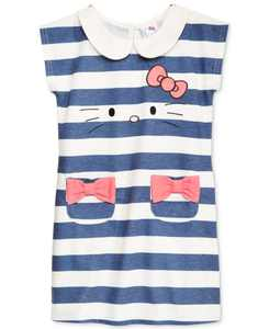 Little Girls Striped Embroidered Dress