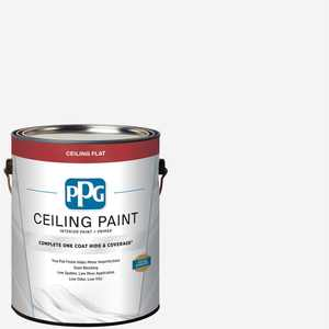 PPG 1 gal. White Flat Interior One-Coat Ceiling Paint with Primer