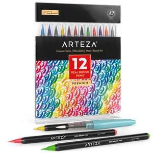 Arteza Blendable Ink Real Brush Tip Artist Brush Pens Set, Assorted Colors, Non-Toxic - 12 Pack (ARTZ-8190)