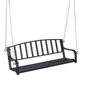 Outsunny 2 Person Front Hanging Porch Swing Bench, Ourdoor Steel Weather Resistant Swing with Chains, 50''L