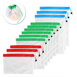 12pcs Reusable Mesh Produce Bags Washable Bags for Grocery Shopping Storage Fruit Vegetable Toys