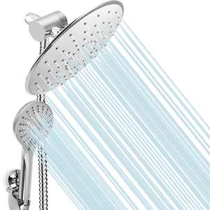Novashion 9 inch Shower Head and Handheld Combo, Rainfall Dual Shower Head 5 Shower Modes, Showerhead with 3-way Water Diverter, Suction Cup Holder, 60inch Hose