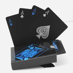 Anself 54Pcs Fine-quality Plastic PVC Poker Waterproof Black Playing Cards Creative Gift Practical Magic Poker Gaming Cards