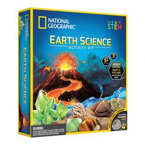 NATIONAL GEOGRAPHIC Earth Science Kit - STEM Science Experiments & Activities Kit, Grow a Crystal, Erupt a Volcano, Start a Rock Collection, Dig Up Fools Gold, Tornados & More, Great Gift for Children
