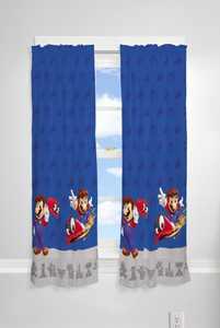 "Super Mario Kids 2 Piece Light Filtering Bedroom Curtain Set, 63"" Length, Blue"