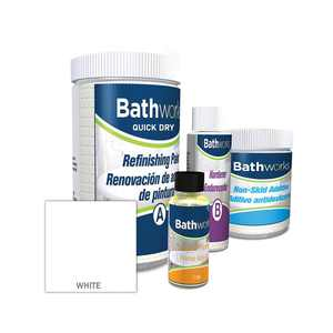 BATHWORKS 22 oz. Quick Dry in White with Slip Guard Bathtub Refinish Kit