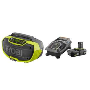 RYOBI 18-Volt ONE+ Hybrid Stereo with Bluetooth Wireless Technology with 2.0 Ah Battery and Charger Kit