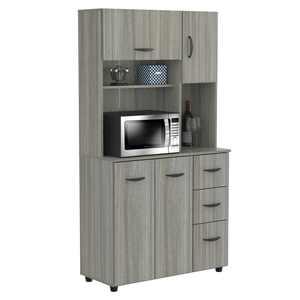 Inval Laminate Kitchen Microwave Storage Cabinet, Smoke Oak