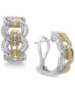 Duo by EFFY Diamond Hoop Earrings (1-1/5 ct. t.w.) in 14k Gold and White Gold
