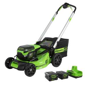 Greenworks PRO 21 in. 60-Volt Battery Cordless Self-Propelled Lawn Mower with (2) 4.0 Ah Battery and Charger