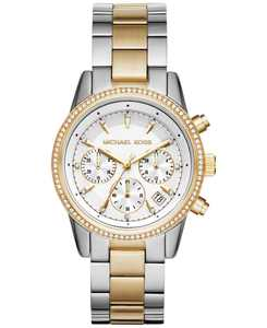 Women's Chronograph Ritz Two-Tone Stainless Steel Bracelet Watch 37mm