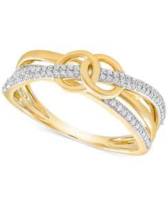 Diamond Double Circle Ring (1/6 ct. t.w.) in 10k Gold, Created for Macy's