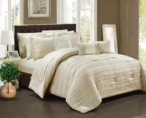 Chic Home 10-Piece Zarina Complete ruffles and Reversible Printed Queen Bed In a Bag Comforter Set Beige Sheets Included