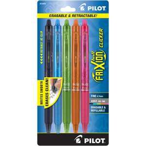 Pilot FriXion Clicker Erasable Gel Pens, Fine Point (0.7 mm), Assorted Ink, 5 Count 323981061