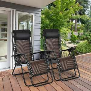 Gymax 2 Pack Rattan Zero-Gravity Chair - Black