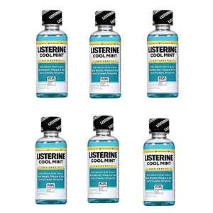 6 Pack Listerine Cool Mint Antiseptic MouthWash Travel Size 3.2oz Each