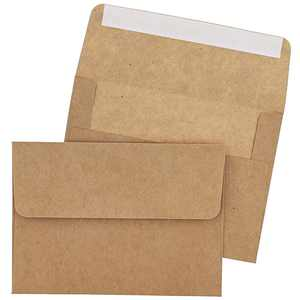 Juvale 100 Pack Brown Kraft A7 Invitation Envelopes for 5 x 7 Wedding Cards, Photos, Baby Shower Invites - Square Peel & Stick Flap, 5.25 x 7.25 Inches