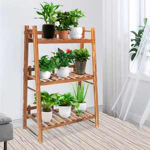 """AUGIENB 3-Tier Wooden Flower Plant Stand, Flower Pot Bonsai Stand Plant Display Stand Rack Ladder Shelf for Indoor Outdoor Living Room Balcony Patio Yard, 23.6""""x12.2""""x35.4"""""""