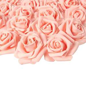 Rose Flower Heads - 100-Pack Stemless Artificial Roses, Perfect Wedding Decorations, Baby Showers, Crafts - Peach, 3 X 1.25 X 3 inches