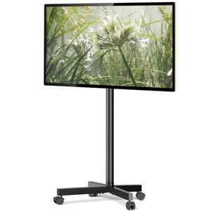 Rfiver Modern Mobile Rolling TV Cart for 32 to 55 inch TVs, Black Metal TV Pole Stand