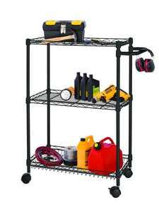 "HSS Mini 27.8""W x 13.4""D x 34.5""H 3-Shelf Freestanding Shelves, Black"