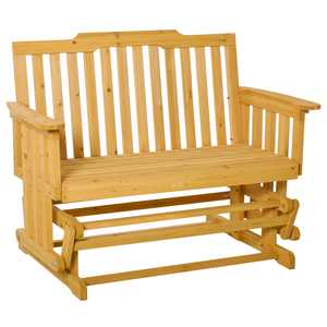 Outsunny 2-Person Wooden Patio Glider Chair Bench with Outdoor-Fighting Materials Natural Color