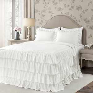 Lush Decor Allison Ruffle Skirt Polyester Bedspread, Full, White, 3-Pc Set