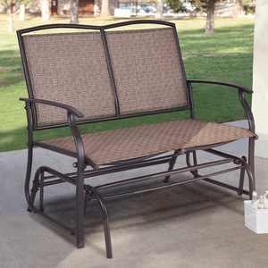 Costway Powder Coated Steel Outdoor Glider Bench - Brown